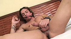 Lusty dude Santiago jacks off so hard he almost gets spunk on his face