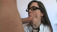 Seemingly nerdy girl Bobbi turns out to be a nympho that loves anal